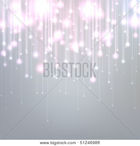 Silver defocused background with brigth sparkles. Vector illustration.