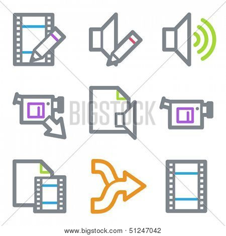 Audio video edit web icons, color line contour series