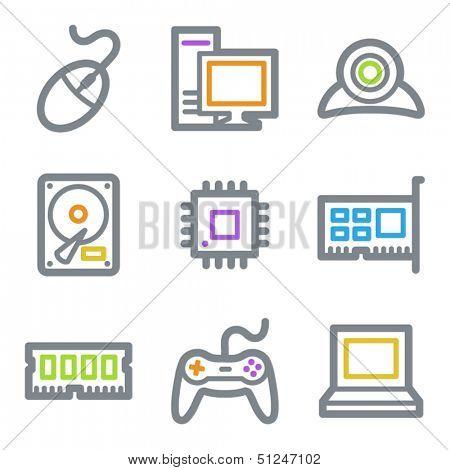 Computer web icons, color line contour series