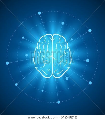Vector brain design template. Elements are layered separately in vector file.