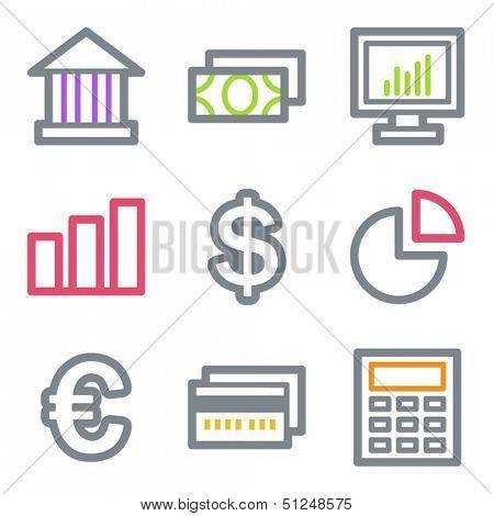 Finance web icons set 1, color line contour series