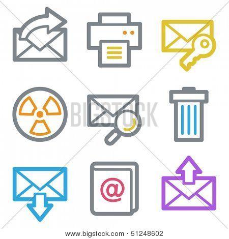 E-mail web icons set 2, color line contour series