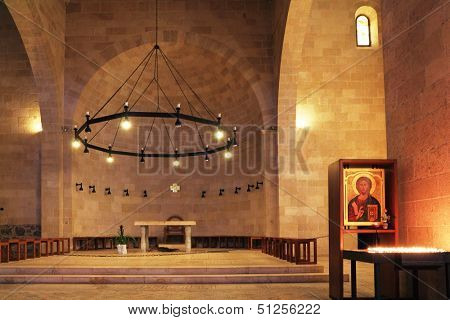 The interior of the church by the Sea Genisaret. Jesus then fed with bread and fish hungry people.