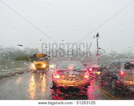 Heavy rush hour traffic in the rain