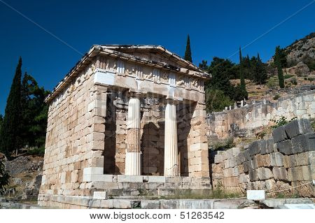 Treasure Of The Athenians At Delphi Oracle Archaeological Site In Greece