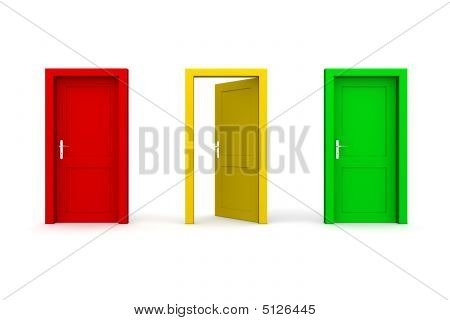 Three Coloured Doors - Open Yellow