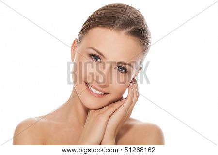 Young happy beautiful natural woman naked over white background