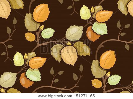 Repeating pattern with swirling branches with autumn leaves