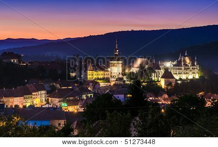 Night View Of Sighisoara, Romania After The Sunset