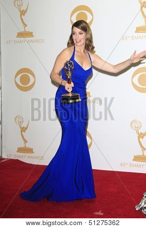 LOS ANGELES - SEP 22: Tina Fey in the press room during the 65th Annual Primetime Emmy Awards held at Nokia Theater L.A. Live on September 22, 2013 in Los Angeles, California