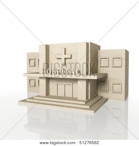 3D render of hospital building with reflection,isolated on white