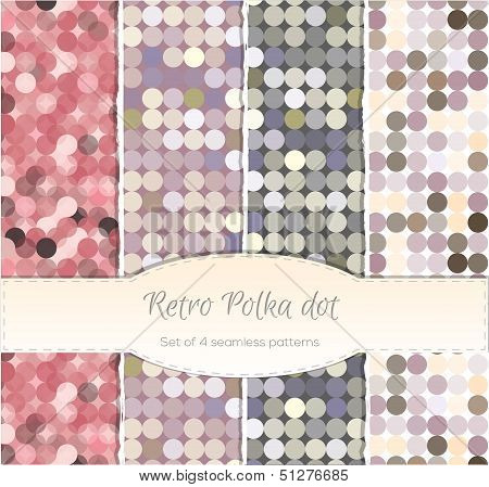 Vintage polka dot seamless patterns, set of four.