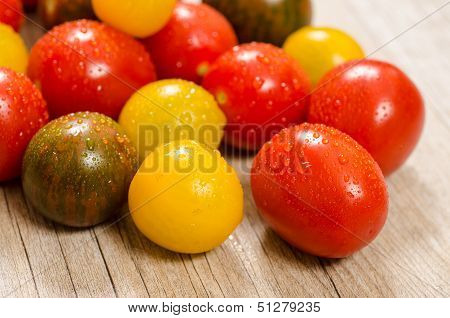 Colorful Wet Cocktail Tomatoes