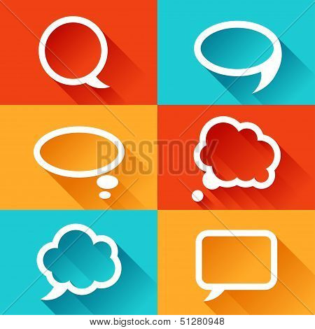 Set of speech bubbles in flat design style.