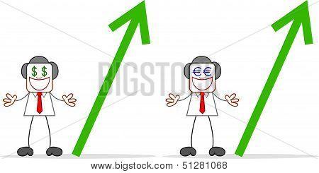 Cartoon Businessman Greedy With Money Eyes