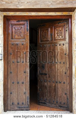 Studded Open Wooden Doors