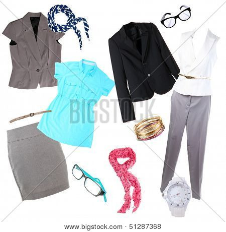 Collage of modern clothes and accessories isolated on white