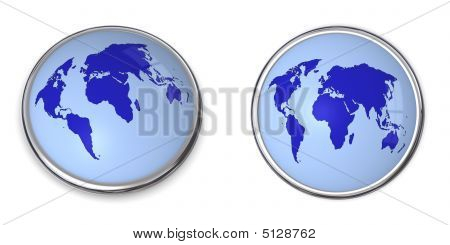 3D Button World Map Blue