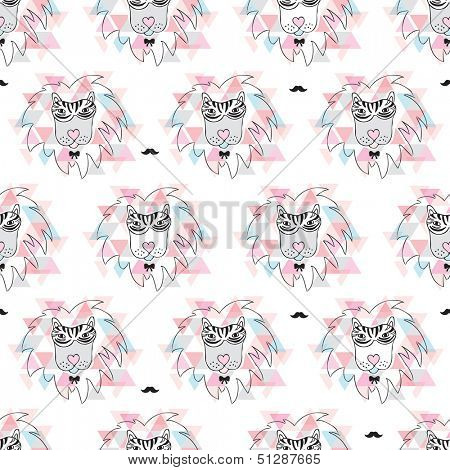 Seamless african geometric zebra lion incognito hipster illustration background pattern in vector