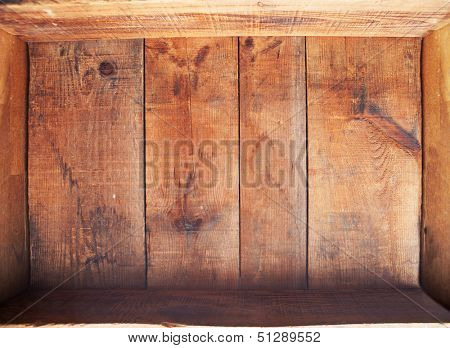 inside a wooden crate. An empty wooden crate or box shot from above.
