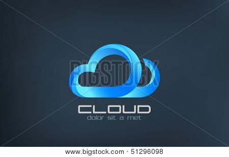 Cloud computing vector logo design template. Data storage transfer concept icon