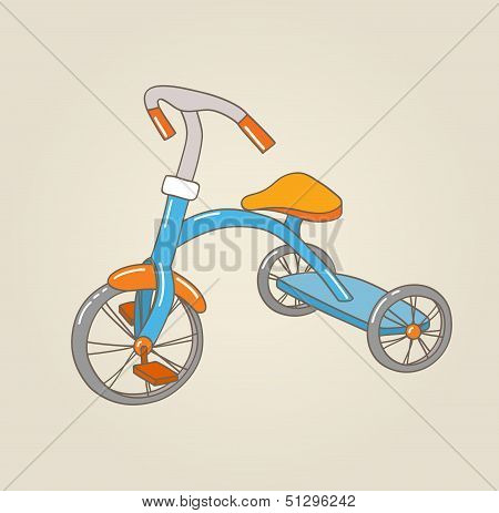 Kid's Tricycle, Vector Illustration