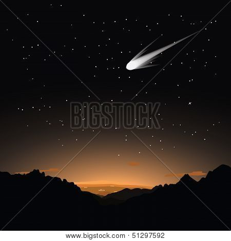 Comet in the evening sky