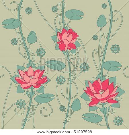 Seamless lotus flower background