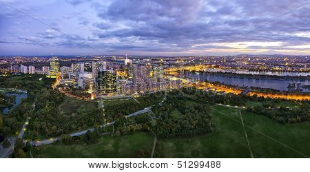 Skyline Of Donau City Vienna At Dusk