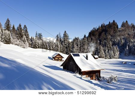 Idyllic Winter Landscape In The Alps