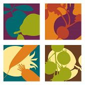 picture of plum fruit  - abstract vector fruit and vegetable designs set 2 - JPG