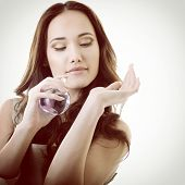 stock photo of perfume  - Woman with perfume - JPG