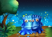 image of stroll  - Illustration of the two monsters strolling in the middle of the night - JPG