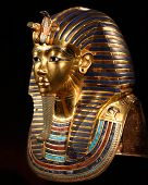 foto of burial  - replica of the burial mask of tut ankh amon