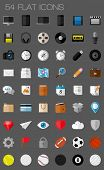 stock photo of slating  - 54 flat icons and pictograms set - JPG
