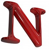 3d shiny red letter collection - N