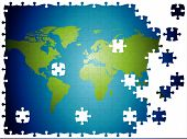 World Map Jigsaw, Layered And Fully Editable.