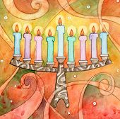stock photo of menorah  - Whimsy watercolor illustration of a colorful menorah - JPG