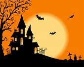 picture of yellow castle  - Halloween vector card - JPG
