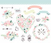stock photo of rose flower  - Wedding graphic set - JPG