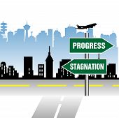 picture of stagnation  - Abstract colorful illustration with an indicator in front of a street junction pointing the ways to progress and stagnation - JPG