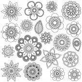 stock photo of henna tattoo  - Vector Collection of Doodle Style Flowers or Mandalas - JPG