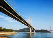 foto of hong kong bridge  - Ting Kau and Tsing Ma suspension bridge in Hong Kong - JPG