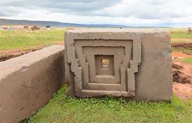 image of pumapunku  - One of the megalithic stones with intricate carving in the complex Puma Punku - JPG