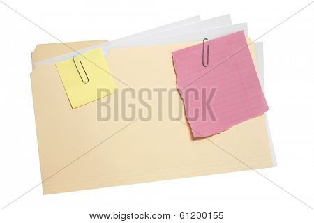 Folder with paperwork and two blank notes attached by clips on white background