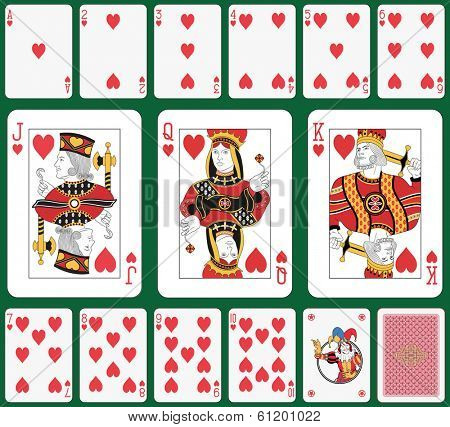 Playing cards heart suit, joker and back. Faces double sized. Green background in a separate level in vector file