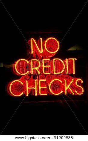 Neon NO CREDIT CHECKS sign