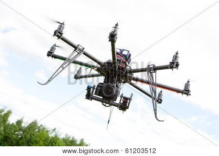 Multirotor RC helicopter used for taking low altitude aerial photos