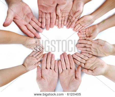 Many Different Sizes Hands On Isolated Background