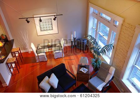 Reconstructed Modern Living Room. Panoramic View